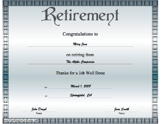 Retirement certificate free printable certificates party for Retirement certificate template