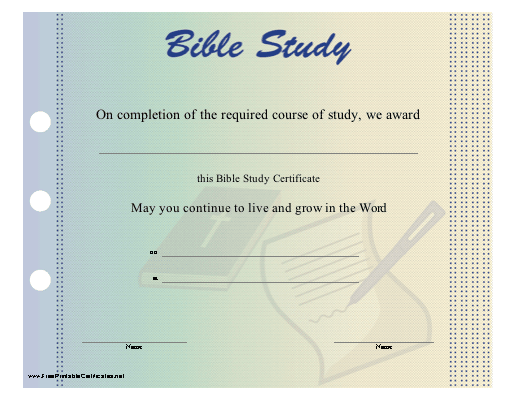 Free bible certificate programs online for Bible study certificate templates