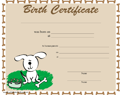 puppy birth certificate template free puppy birth