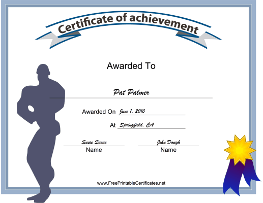 Male Body Building Achievement certificate