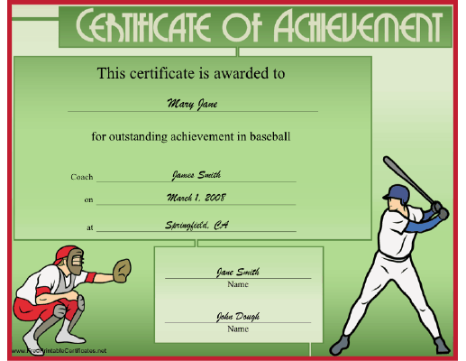Baseball certificate template word insrenterprises baseball certificate template word yadclub Image collections