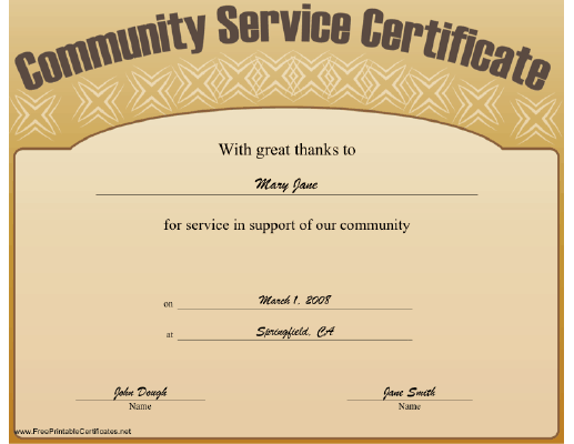 Permalink to Community Service Certificate Template