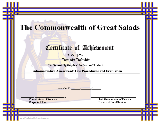 Achievement - Liberty Bell certificate