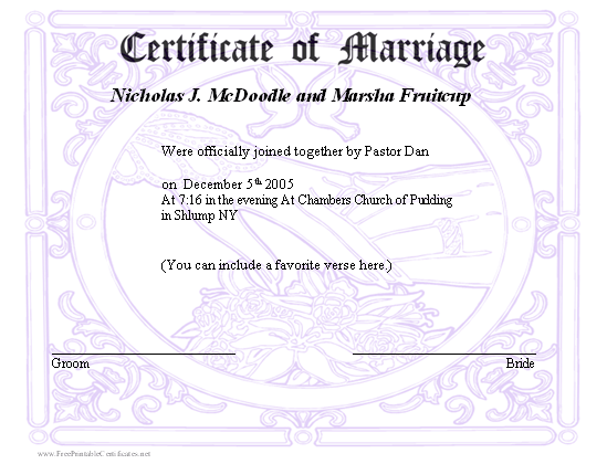 Fake marriage certificate for fun tiredriveeasy fake yadclub Choice Image