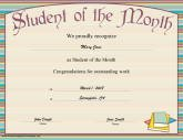 student of month certificate template .
